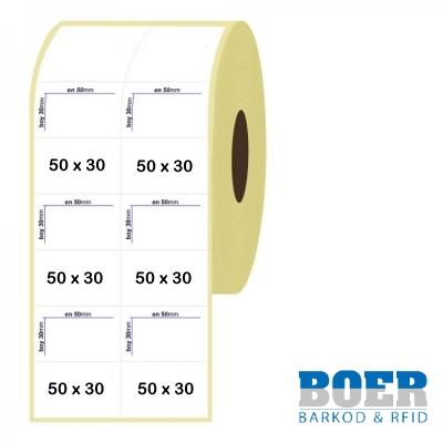 50mm x 30mm 2'li Bitişik Termal Etiket
